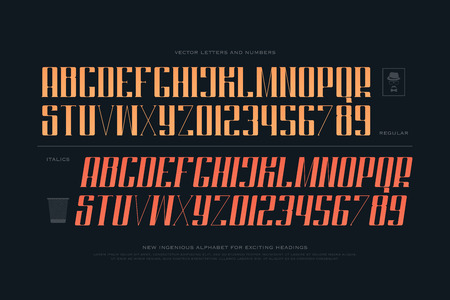 typesetting: regular and slanted style alphabet letters and numbers. font type design. vintage lettering symbols. stylized, italics typesetting. classic typeface template Illustration