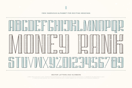 typesetting: vintage money alphabet letters and numbers. font type design. decorative lettering symbols. stylized, regular typesetting. currency classic typeface template Illustration