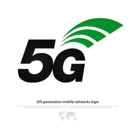 high speed internet: new 5th generation mobile network logotype. vector 5G icon isolated on white background. high speed connection wireless systems sign. telecommunications standard of faster Internet connection Illustration