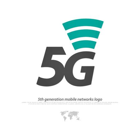 nueva 5ª generación logotipo de red móvil. icono del vector 5G. conexión de alta velocidad de símbolo de los sistemas inalámbricos. estándar de telecomunicaciones de la conexión a Internet más rápido