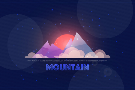 hiking: night view of high mountains. vector, beautiful landscape. cartoon style mountain logo. extreme sports and tourism banner design. winter adventure background. mountaineering, hiking concept