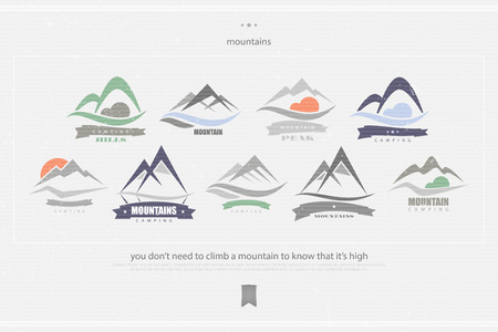 set of high mountains vector, vintage icons. travel and rock climbing concept logo. landscape grunge sign. mountain valley logotype. vector mountain peak hiking symbol. camping badge Illustration