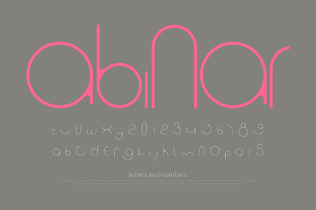 round style alphabet letters and numbers. vector, minimalistic font type design. contemporary, regular lettering. geometric, decorative typesetting. modern typeface template