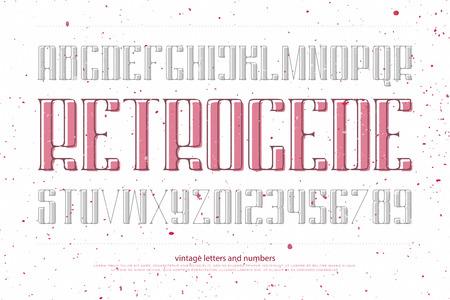 빈티지 알파벳 문자와 숫자입니다. 벡터 글꼴 유형 디자인입니다. 장식 레터링 기호. 양식에 일치시키는 복고풍 조판. 일반 서체 템플릿 일러스트