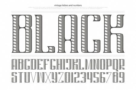 빈티지 알파벳 문자와 숫자입니다. 벡터 글꼴 유형 디자인입니다. 장식 레터링 기호. 양식에 일치시키는 복고풍 조판. 일반, 장식용 서체 템플릿