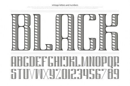 vintage alphabet letters and numbers. vector font type design. decorative lettering symbols. stylized, retro typesetting. regular, ornamental typeface template