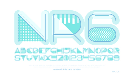 geometric style alphabet letters and numbers. vector font type design. modern lettering symbol. abstract, decorative typesetting. ornamental typeface template