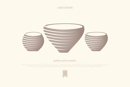 pot or clay vase icons. pottery and ceramics vector logo design. handiwork shop brand symbol. traditional handmade pots, classic art objects. archeology museum logotype