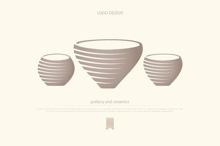 pote ou argila vaso ícones. Cerâmica e cerâmica vector design de logotipo. símbolo de marca de loja de trabalhos manuais. potes artesanais tradicionais, objetos de arte clássicos. logotipo do museu de arqueologia