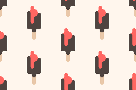 A minimalist style ice cream background. summer dessert wallpaper design. vector popsicle seamless pattern. strawberry and chocolate lollypop.