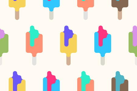 A minimalist style ice cream background. summer dessert wallpaper design. vector popsicle seamless pattern. colorful, trendy lollypop backdrop.