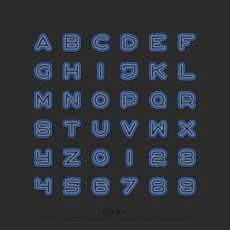 그릴 텍스처 알파벳 문자와 숫자입니다. 벡터, 글꼴 유형 디자인. 라운드 개요, 일반 레터링. 양식, 선형 조판. 그리드 패턴 서체 일러스트