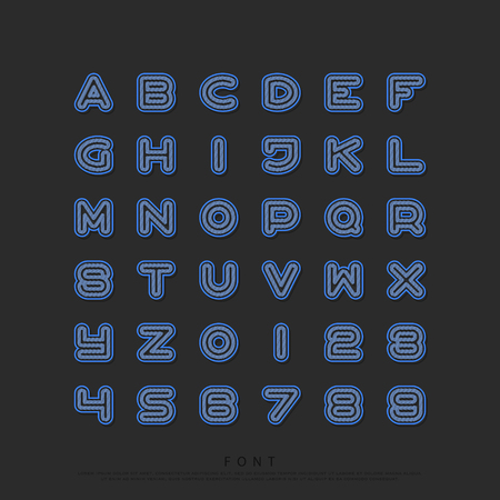 grill texture alphabet letters and numbers. vector, font type design. round outline, regular lettering. stylized, linear typesetting. grid pattern typeface