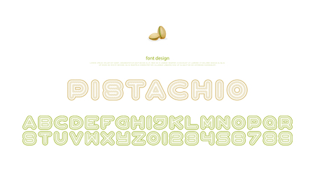 pistachios style alphabet letters and numbers. vector, font type design. fruits package, regular lettering. stylized, pistachio typesetting. branding typeface Illustration