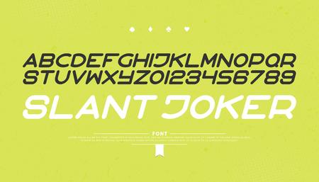 양식에 일치시키는 알파벳 문자와 숫자의 집합입니다. 벡터, 현대, 기울어 진 글꼴 유형. 현대 이탤릭체 서체 디자인. 비스듬한 장식용 조판 일러스트