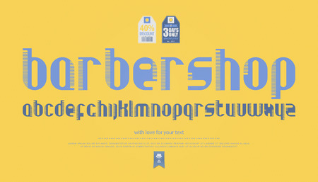 regular, comb style alphabet letters over yellow background. vector, contemporary font type. modern, hair brush typeface design. barber shop style typesetting Illustration