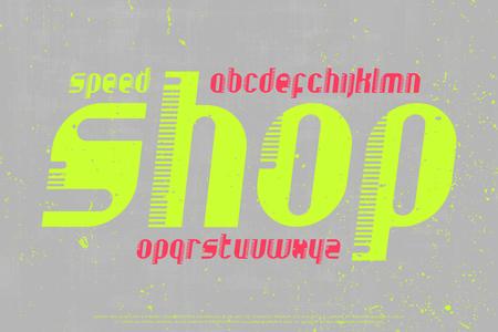 속도, 양식에 일치시키는 알파벳 편지. 벡터, 빈티지, 기울어 진 글꼴 유형 디자인. 모터 스포츠 스타일, 이탤릭체 서체. 기울어 진 복고풍 조판 일러스트