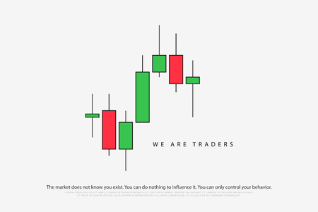 stock chart logotype with japanese candles pattern. vector currencies trading diagram. exchange market graph. forex success concept logo. bullish and bearish price trend Vectores