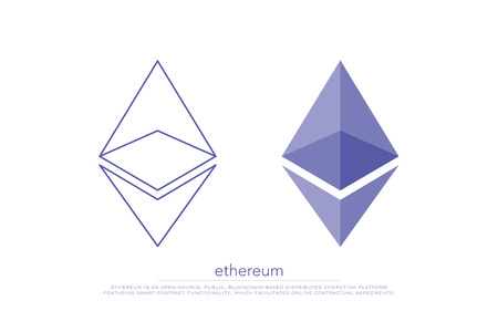 tecnology: set of isolated ethereum icons. vector, cryptocurrency logo design. ether virtual coin logotype. blockchain tecnology based digital money symbol