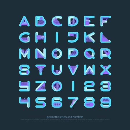기하학적 스타일 알파벳 문자와 숫자입니다. 벡터 글꼴 유형 디자인입니다. 현대 레터링 기호. 추상, 장식 조판. 장식용 서체 템플릿