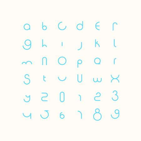 라운드 스타일 알파벳 문자와 숫자입니다. 현대적이고 규칙적인 글자. 기하학적 장식용 조판.