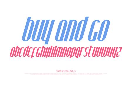 Italic, stylized alphabet letters. vector, vintage, slanted font type design. motor sport style, italics typeface. inclined, retro typesetting Illustration
