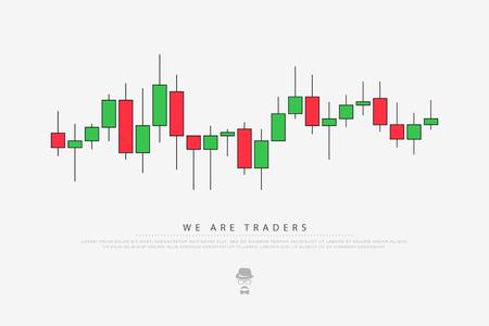 Fondo abstracto con el patrón de velas japonesas. diagrama de comercio de monedas de vector. gráfico de mercado de cambio.
