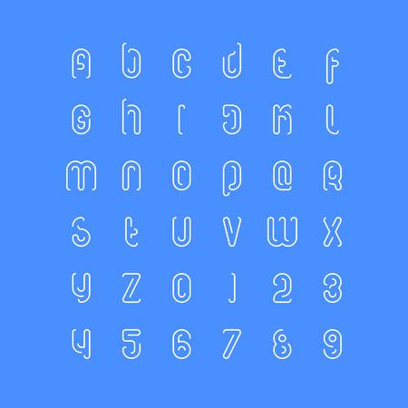 세련 된 알파벳 문자와 숫자의 집합입니다. 벡터, 선형 글꼴 유형. 얇은 윤곽 서체 디자인. 현대 장식 조판 일러스트