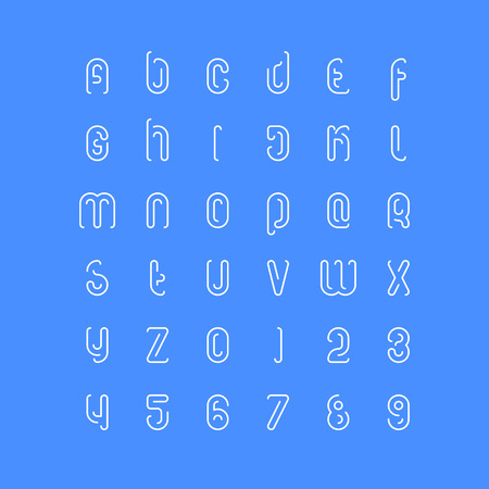 set of stylish alphabet letters and numbers. vector, linear font type. thin contour typeface design. modern decorative typesetting