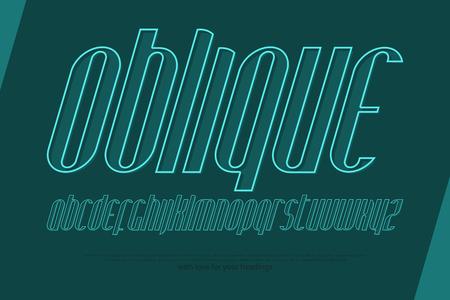 기울임 꼴, 알파벳 문자를 양식에 일치시키는. 벡터, 선형, 기울어 진 글꼴 유형 디자인. 얇은 선 스타일, 이탤릭체 서체. 경사, 개요 조판