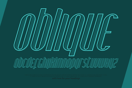 italic, stylized alphabet letters. vector, linear, slanted font type design. thin line style, italics typeface. inclined, outline typesetting