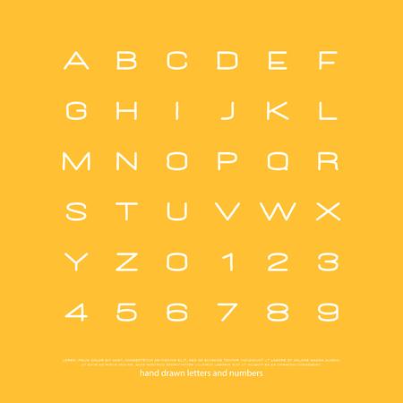 세련 된 알파벳 문자와 숫자의 집합입니다. 벡터, 선형 글꼴 유형.