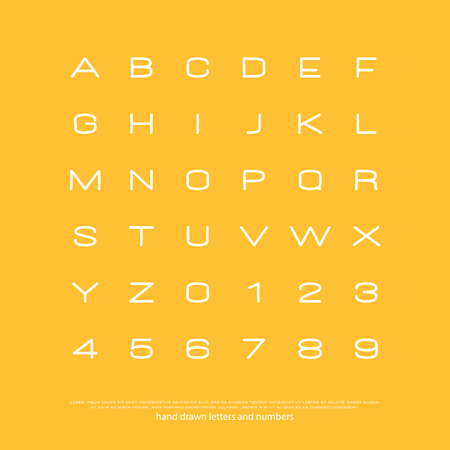 set of stylish alphabet letters and numbers. vector, linear font type.
