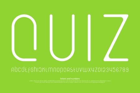 세련 된 알파벳 문자와 숫자의 집합입니다. 벡터, 선형 글꼴 유형. 얇은 줄 서체 디자인. 현대 장식 조판 일러스트