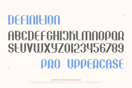 alphabetic character: set of stylish alphabet letters and numbers. vector, medium font type. regular typeface design. contemporary, stylized typesetting Illustration