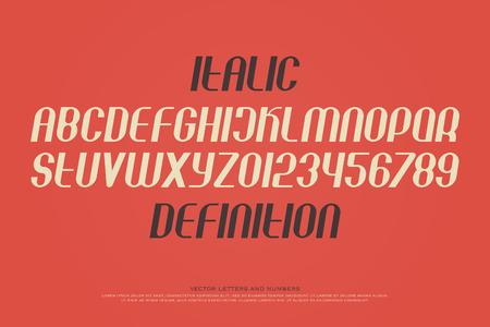 양식에 일치시키는 알파벳 문자와 숫자의 집합입니다. 벡터, 현대, 기울어 진 글꼴 유형. 현대 이탤릭체 서체 디자인. 경사, 산 셰리프 조판