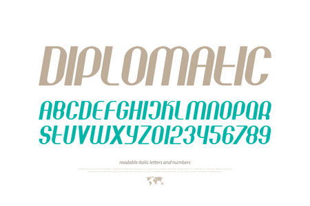 set of inclined alphabet letters and numbers. vector, contemporary, slanted font type. modern italics typeface design. monospaced, sans serif typesetting