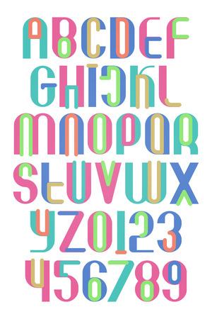 다채로운 알파벳 문자와 숫자입니다. 벡터, 축제 글꼴 유형입니다. 규칙적인 재미있는 서체 디자인. 현대식, 양식화 된 조판 일러스트