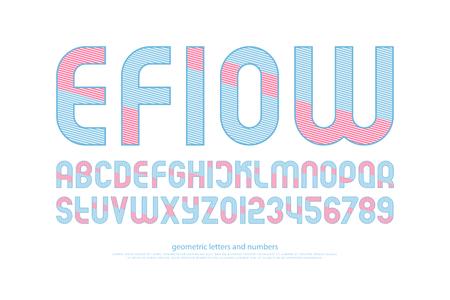 알파벳 문자와 줄무늬 패턴으로 숫자입니다. 벡터,가는 선 글꼴 유형. 일반 서체 디자인. 현대식, 조판 식 조판