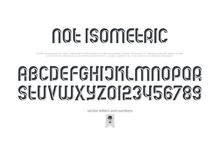 산 세 리프 알파벳 문자와 숫자. 벡터, 아이소 메트릭 글꼴 유형. 일반, 3d 효과 활자체 디자인. 관점, 복고식 조판