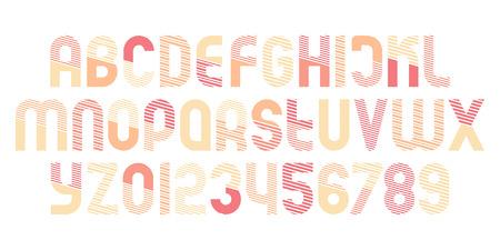 세련 된 알파벳 문자와 스트라이프 패턴으로 숫자입니다. 벡터,가는 선 글꼴 유형. 일반 서체 기하학적 디자인. 현대식, 조판 식 조판