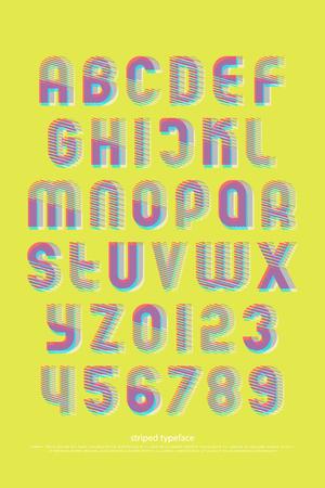 다채로운 알파벳 문자와 스트라이프 패턴으로 숫자입니다. 벡터, 밝은 글꼴 유형입니다. 일반 서체 기하학적 디자인. 현대식, 조판 식 조판