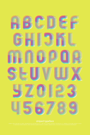 colorful alphabet letters and numbers with striped pattern. vector, bright font type. regular typeface geometric design. contemporary, textured typesetting