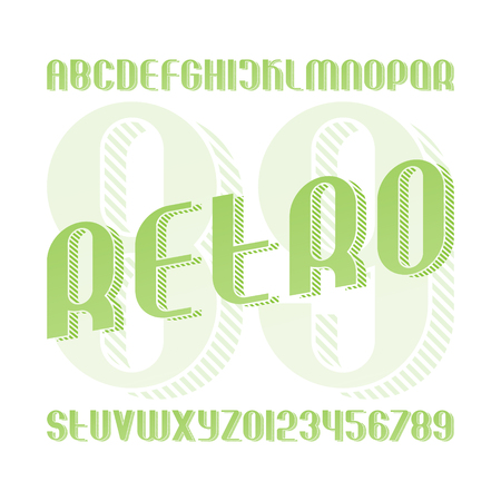 vintage alphabet letters and numbers with striped shadow. vector, isometric font type. retro, 3d effect typeface design. stylish, sans serif typesetting
