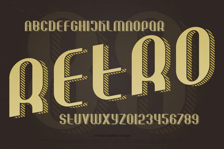 빈티지 알파벳 문자와 스트라이프 그림자와 숫자입니다. 벡터, 아이소 메트릭 글꼴 유형. 복고풍, 3d 효과 활자체 디자인. 세련된 그런지 조판 일러스트