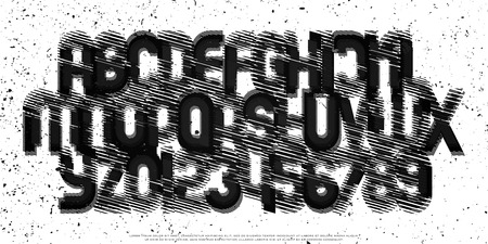 carbon alphabet letters and numbers with graphite pattern. vector, black scratch font type. regular, grunge typeface design. contemporary, textured typesetting