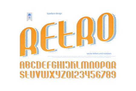 빈티지 알파벳 문자와 스트라이프 그림자와 숫자입니다. 벡터, 양식에 일치시키는 글꼴 유형. 레트로, 제목 서체 디자인. 세련된 산 세리프 조판