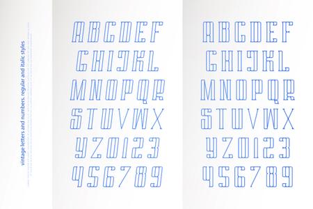 일반 및 기울임 꼴 알파벳 문자 및 숫자. 벡터 글꼴 유형 디자인입니다. 기울어 진 글자 기호. 양식, 경사 조판. 경사 서체 템플릿