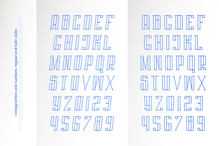regular and italic alphabet letters and numbers. vector font type design. slanted lettering symbols. stylized, inclined typesetting. oblique typeface template Illustration