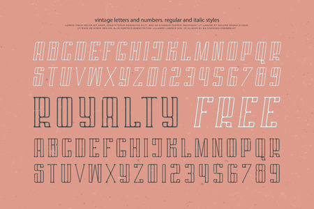 regular and italic alphabet letters and numbers. vector font type design. slanted lettering symbols. stylized, inclined typesetting. oblique typeface template Ilustração